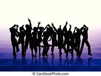 gens, fond, 1302, danse
