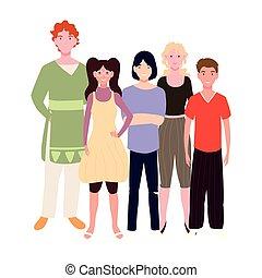 gens, fond, blanc, poses, différent, groupe