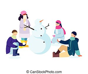 gens, fond, bonhomme de neige, blanc, groupe