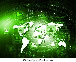 gens, fond, connexion globale, technologie