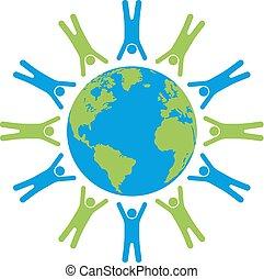 gens, former, globe, cercle, la terre