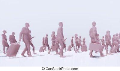 gens, foule, unrecognizable, virus, covid-19