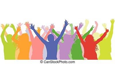 gens, gai, silhouette, fête, stade, etc.)., vecteur, (holiday, concert, coloré, foule., illustration