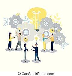 gens, goal., travail, portée, illustration, vecteur, équipe