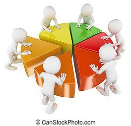 gens., graphique circulaire, équipe, blanc, 3d