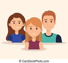 gens, groupe, avatars, jeune