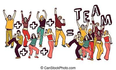 gens, groupe, blanc, isoler, couleur heureuse, équipe, jeune