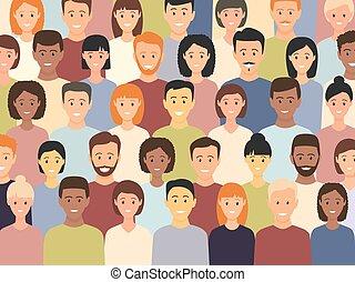 gens, groupe ensemble, multiculturel, debout, divers