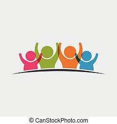gens, groupe, icône