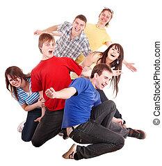 gens., groupe, jeune, heureux