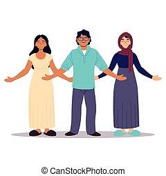 gens, groupe, ou, ensemble, multiculturel, diversité