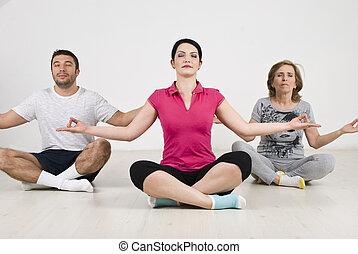 gens, groupe, position yoga, lotus