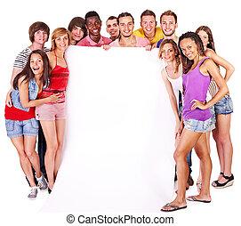 gens, groupe, tenue, bannière