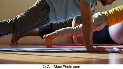 gens, groupe, yoga, 4k