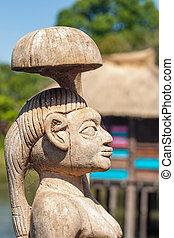 gens, handcraft, bois, figures, découpé, africaine