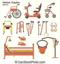 gens, handicapé, équipement hôpital, monde médical