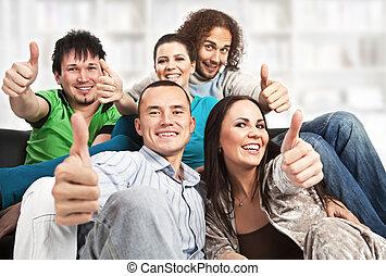 gens, haut, heureux, jeune, -, pouces