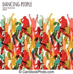 gens., heureux, foule, danse