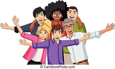 gens., heureux, groupe, jeune, dessin animé