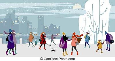 gens, hiver, ville
