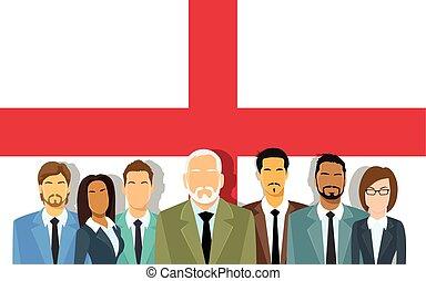 gens, hommes affaires, business, sur, équipe, personne agee, anglaise, groupe, drapeau