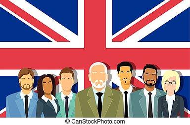 gens, hommes affaires, business, sur, grand, équipe, personne agee, anglaise, grande-bretagne, groupe, drapeau