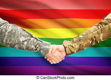 gens, hommes, -, uniforme, lgbt, drapeau, fond, mains secouer
