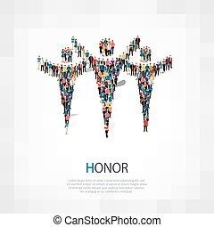 gens, honneur, signe, 3d