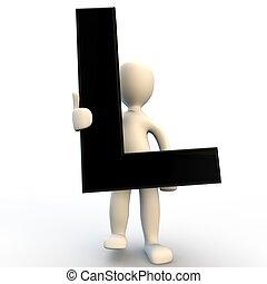 gens humains, l, caractère, noir, lettre, tenue, petit, 3d