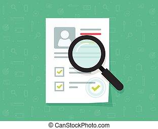 gens, idée, recherche, recrutement, papier, humain, gestion, cv, données, feuille, personnel, dessin animé, vecteur, employé, document, ressources, plat, illustration, approuvé, embauche, timbre, entrevue