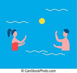 gens, illustration, eau, vecteur, polo, jouer