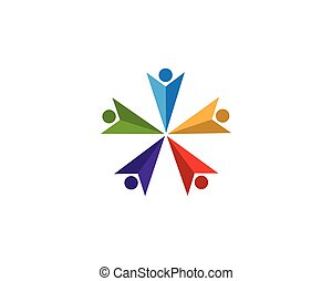 gens, illustration, vecteur, conception, communauté, logo, soin