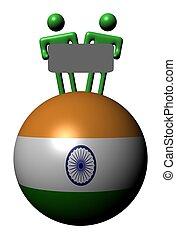 gens, inde, illustration, signe, sphère, drapeau, tenue