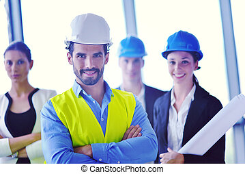 gens, ingénieurs, réunion, construction, business