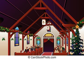 gens, intérieur, veille, célébrer, église, noël