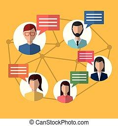 gens, internet, communication, message, bavarder