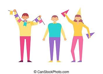 gens, isolé, anniversaire, vecteur, fête, blanc, heureux