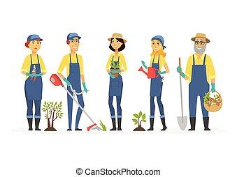 gens, -, isolé, illustration, caractères, jardiniers, outils, dessin animé