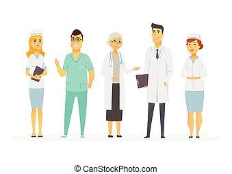 gens, -, isolé, illustration, caractères, médecins, dessin ...