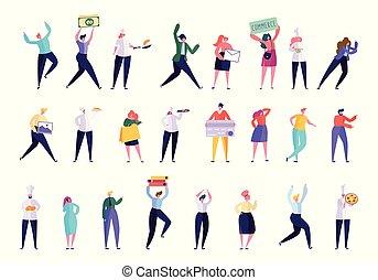 gens, isolated., chef cuistot, directeur, différent, set., caractère, créatif, divers, plat, illustration, nourriture., collection, professionnel, cuisinier, dessin animé, femme affaires, boulanger, travail, vecteur, homme affaires, geste