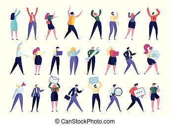 gens, isolated., directeur, set., informatique, employé, nouveau, stand, plat, divers, business, hr, business., illustration, collection, dessin animé, aide, travail, ensemble, vecteur, ouvrier, équipe, trouvé, constitué, geste