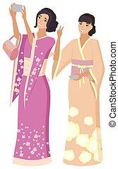 gens, japonaise, joie, femmes, smartphone, geisha