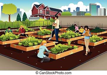 gens, jardinage, communauté