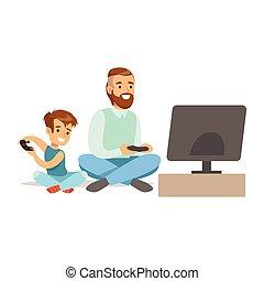 gens, jouer, avoir, heureux, père, jeu, jeu, vidéo, séance, amusement, garçon, informatique, plancher, partie, intérieur, manches balai, gamers, apprécier