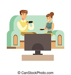 gens, jouer, couple, avoir, heureux, jeu, vidéo, jeu, séance, amusement, partie informatique, sofa, intérieur, manches balai, gamers, apprécier