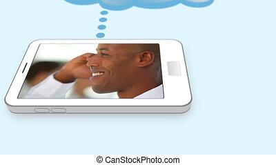 gens, leur, business, mobile, utilisation