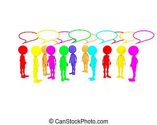 gens, leur, plusieurs, inquiétudes, critique, pensées, ...