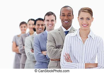 gens, ligne, habillé, leur, premier, sourire, traversant armes, unique, foyer, gros plan, procès, femme