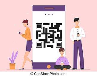 gens, ligne, smartphone, bavarder, vecteur, illustration