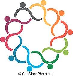 gens, logo., équipe, groupe, 10, vague